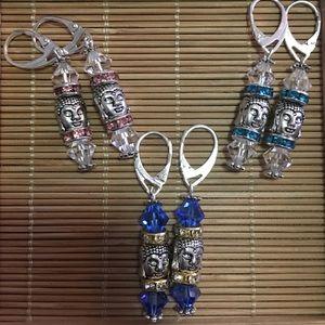 Jewelry - S/S Handmade Swarovski Crystal Buddha earrings